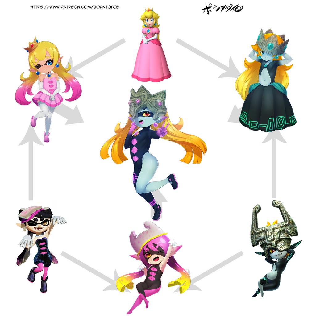 3 character fusion princess peach midna callie by b0rn