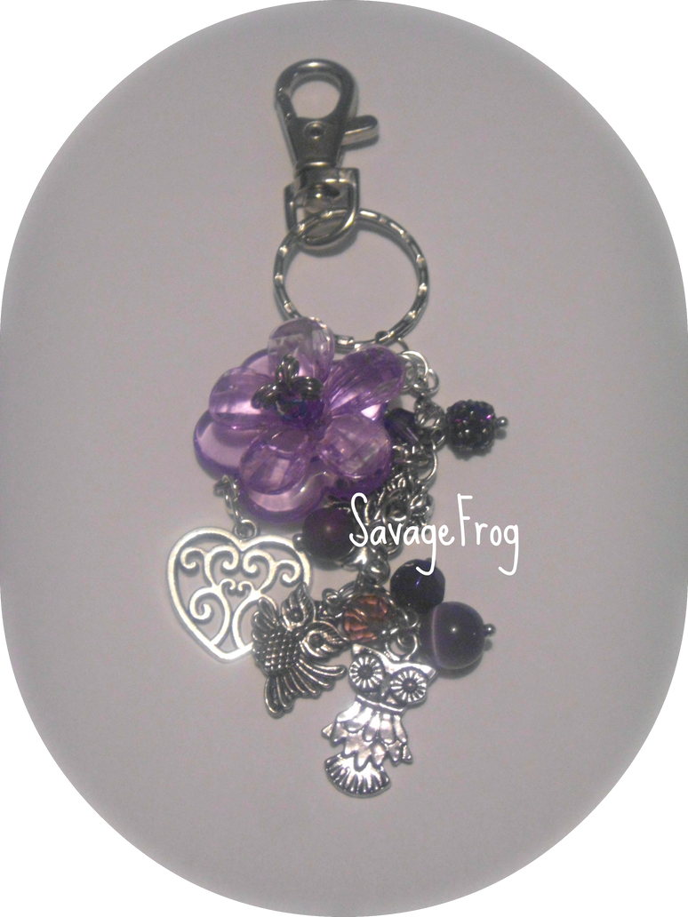 Violets and Owls Keychain by SavageFrog
