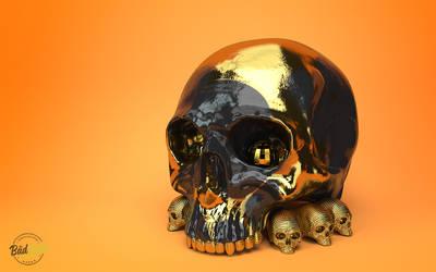 Black and Gold Skull by badluckcompany