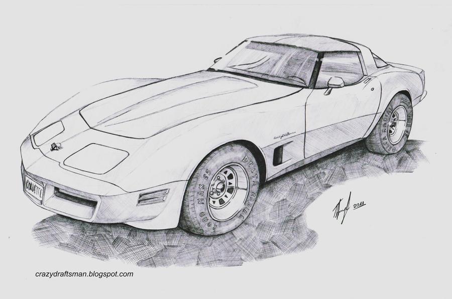 Corvette drawing  Etsy