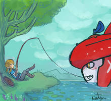 Link goes Fishing by Friendlyfoxpal