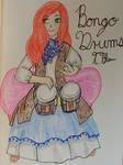 Anime Girl Playing the Bongo Drums
