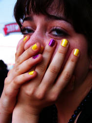 violet and yellow nails