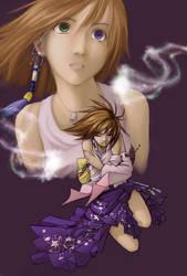 Yuna kneeling by hikari-chan