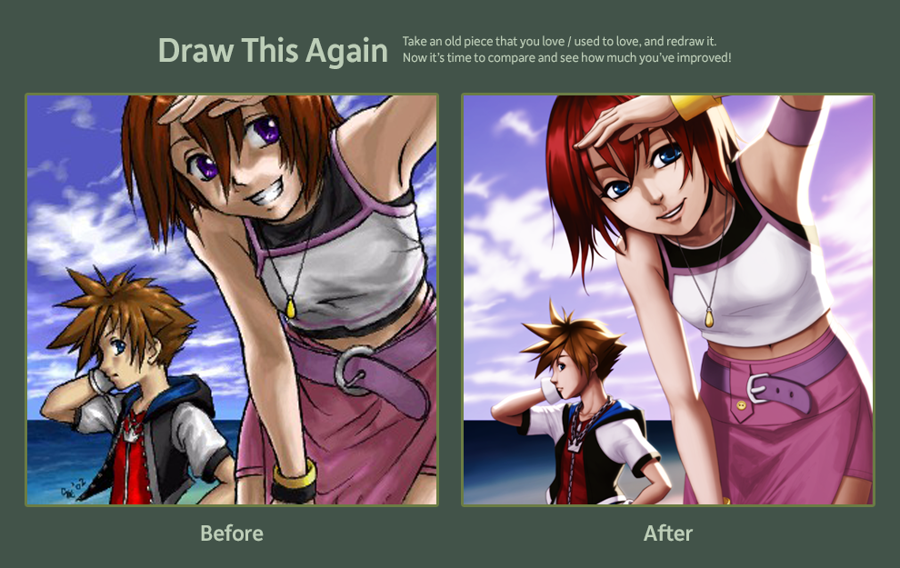 2012-09-29: Draw This Again - Sora and Kairi by hikari-chan