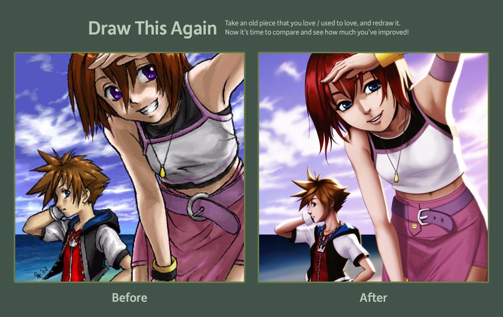 2012-09-29: Draw This Again - Sora and Kairi by hikari-chan