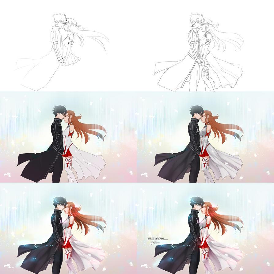 2015-01-17: Kirito+Asuna Process by hikari-chan