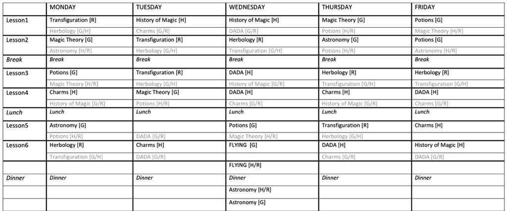 timetable worksheets