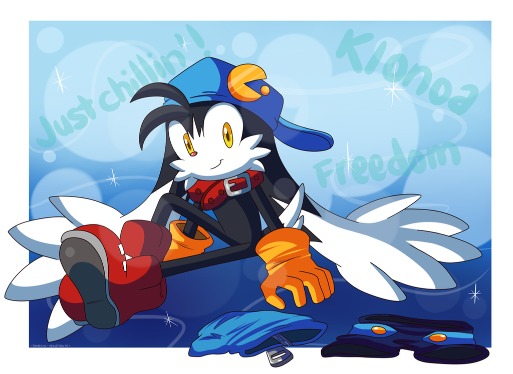 Unclothed Klonoa sitting down by Domestic-hedgehog