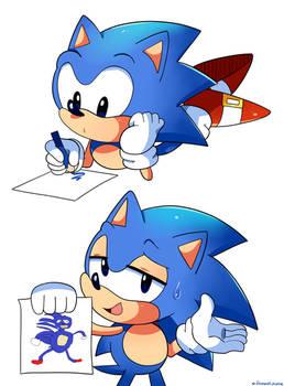Sonic Draws Himself