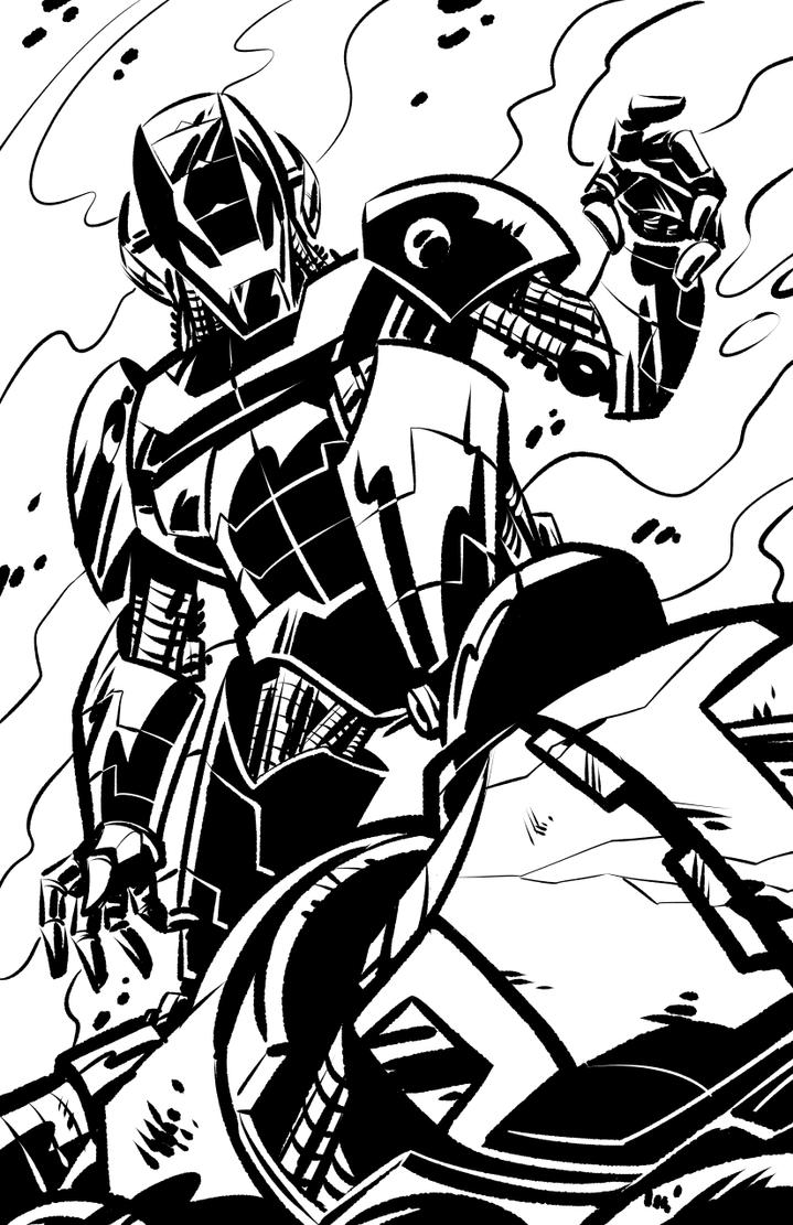 Inktober Ironman vs. Ultron by malara-art