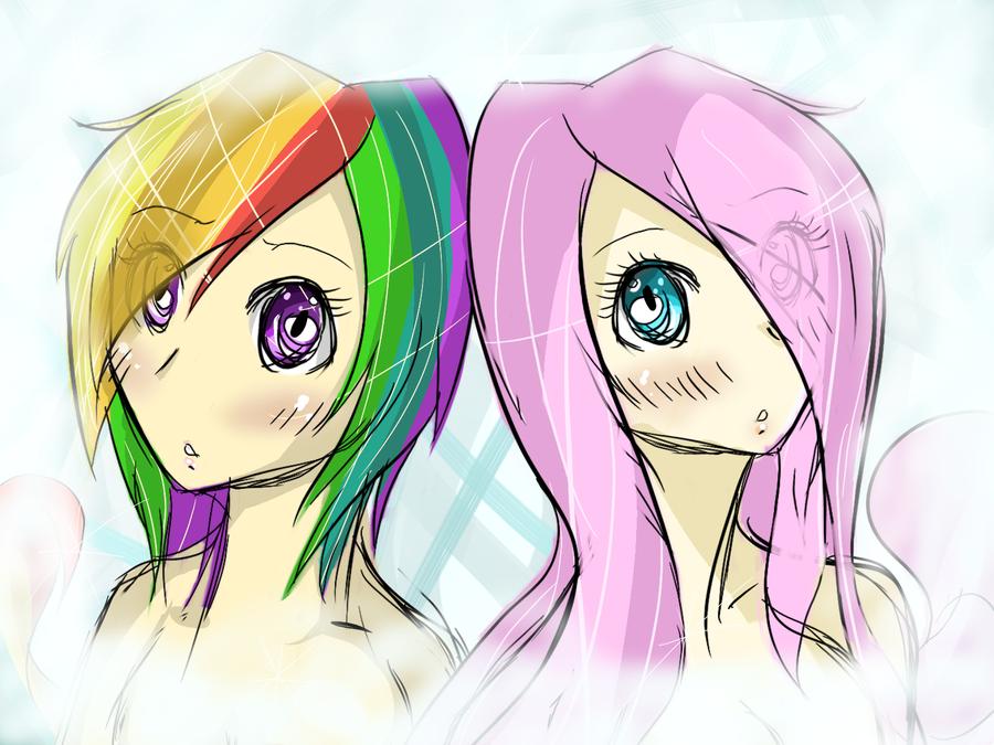 Human Rainbow Dash And Fluttershy