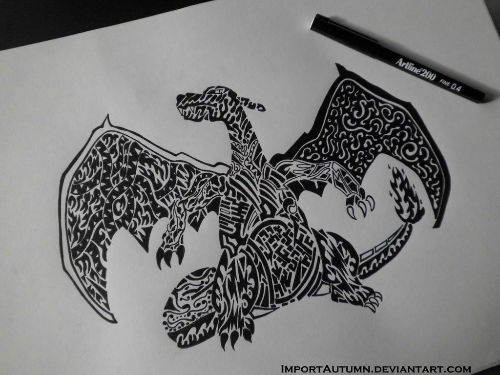 Line Art Tattoo Designs : Charizard tribal style tattoo design by importautumn on deviantart
