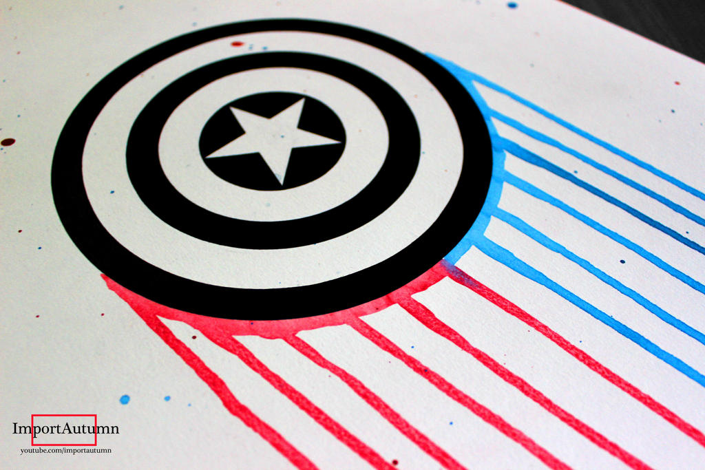 Captain America Shield Drawing: Captain America [Speed Drawing Video] By ImportAutumn On