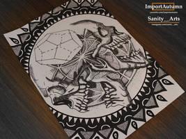 Daily Drawing #43 - Skull Mandala Collab :) by ImportAutumn