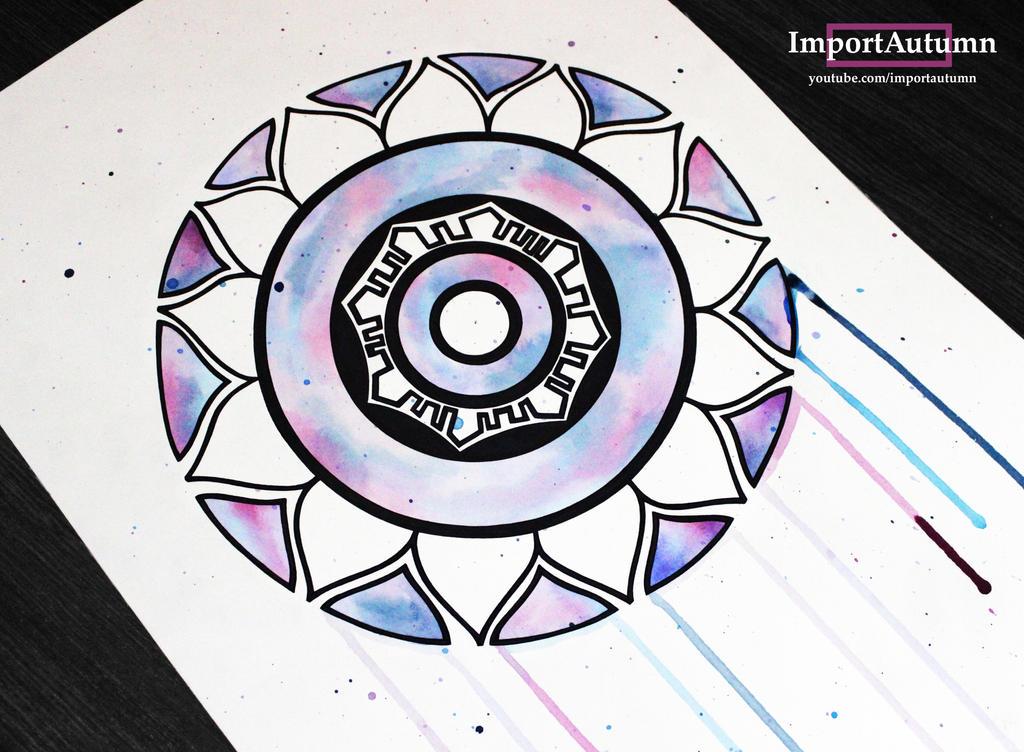 InkTober Day 12 - Watercolour Mandala :) by ImportAutumn