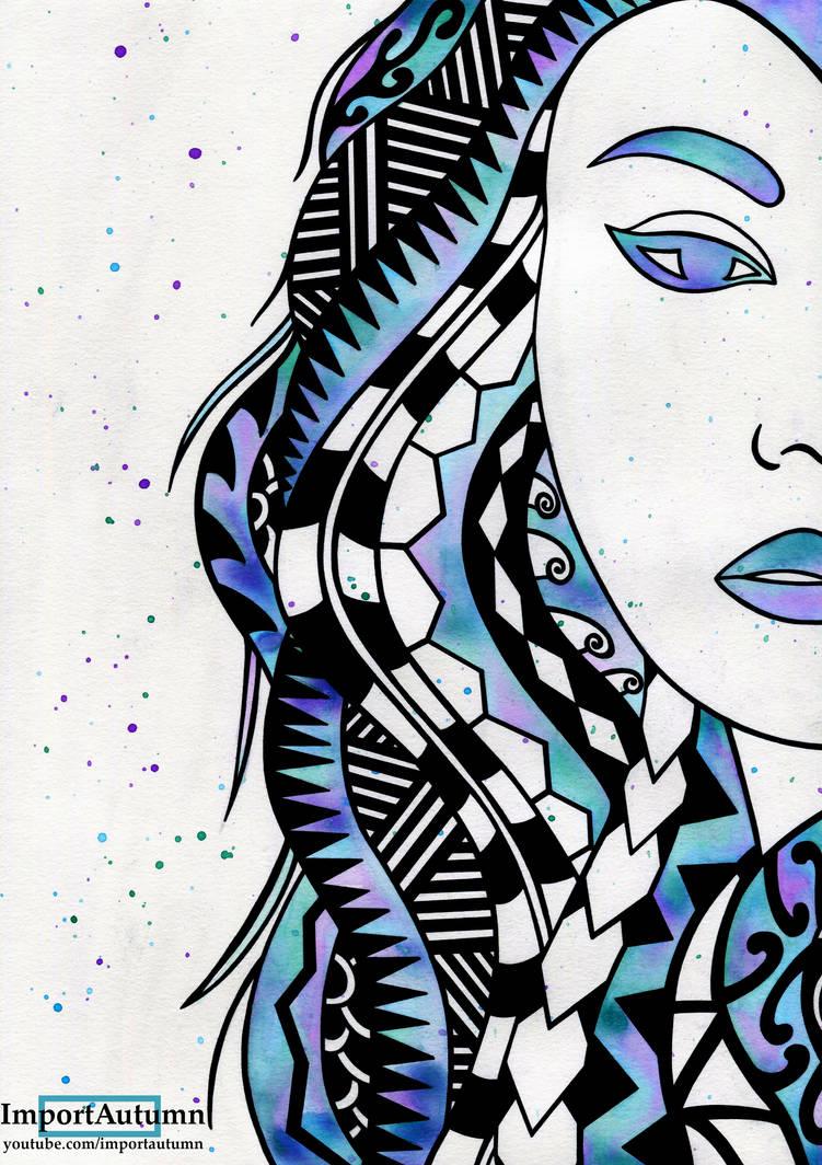 InkTober D.31 - Watercolour + Polynesian Portrait by ImportAutumn