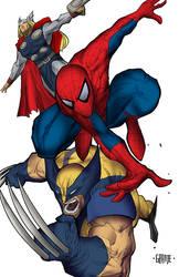 Spider-Man, Wolverine and Thor
