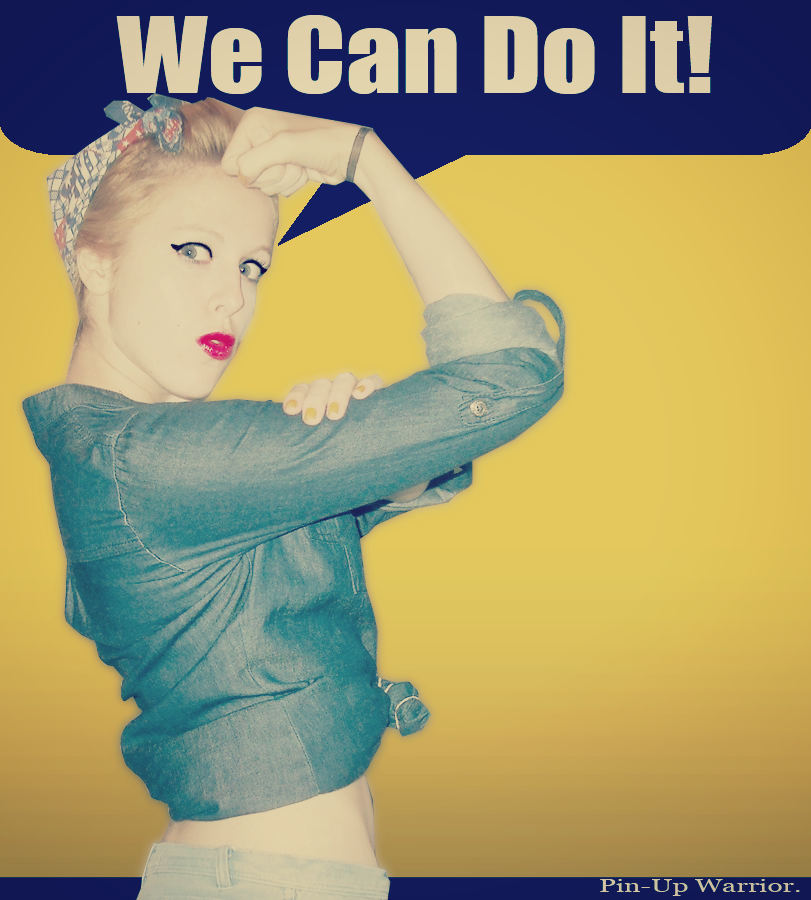 D'une affiche de propagande au féminisme, Rosie, We can do it Pin_up_warrior___rosie_the_riveter___by_missweirdcat-d5hdh18