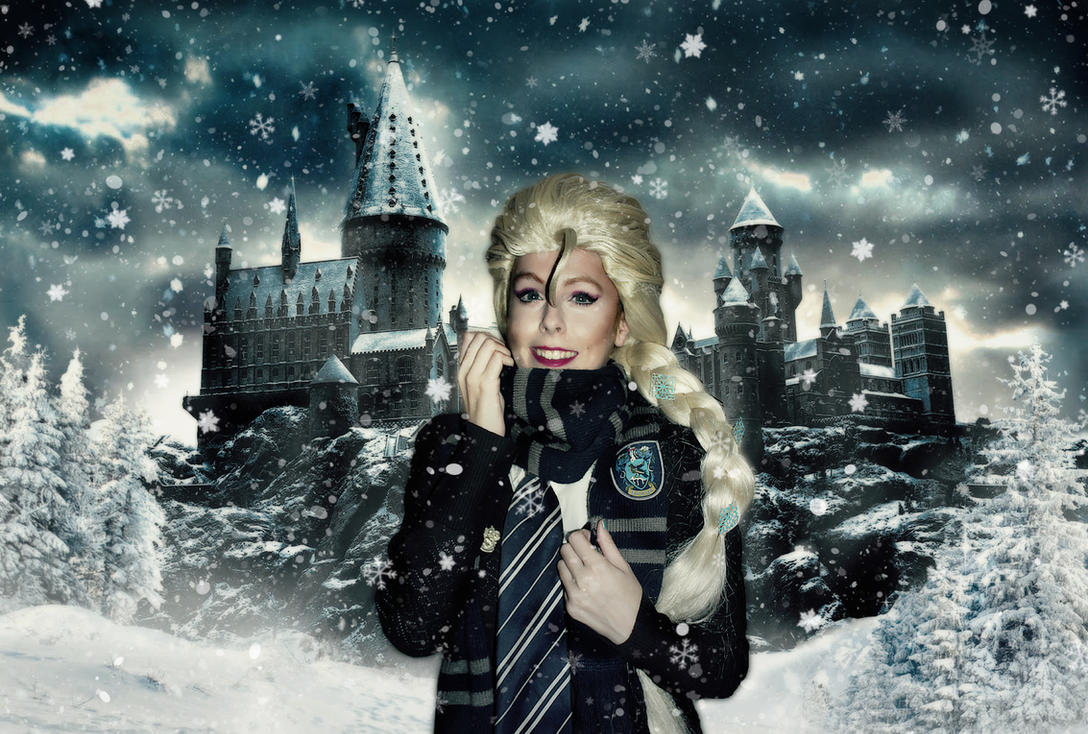 Winter at Hogwarts with Elsa  cosplay frozen by MissWeirdCat