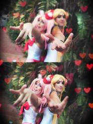 Chibiusa and Sailor Moon cosplay Bikini version by MissWeirdCat