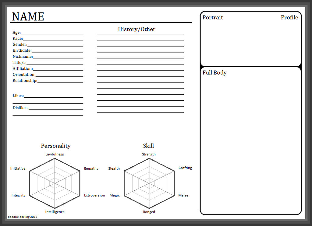 Some Templates For Anyone Wishing To Create Character