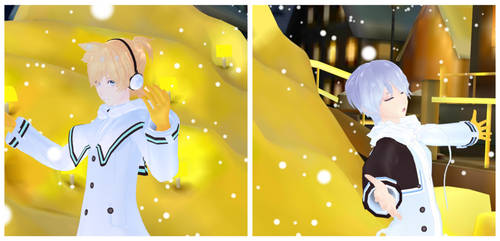 MMD Snowman Kaito and Len by EmberAce216