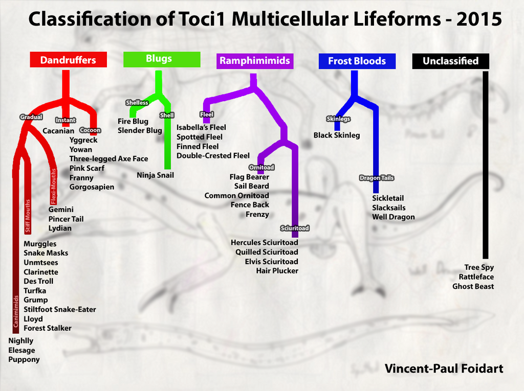 Classification of Toci1 Multicellular Lifeforms by Tapejara