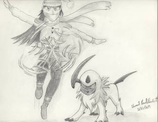 Jessica the Ice Ninja and her Absol by Tapejara