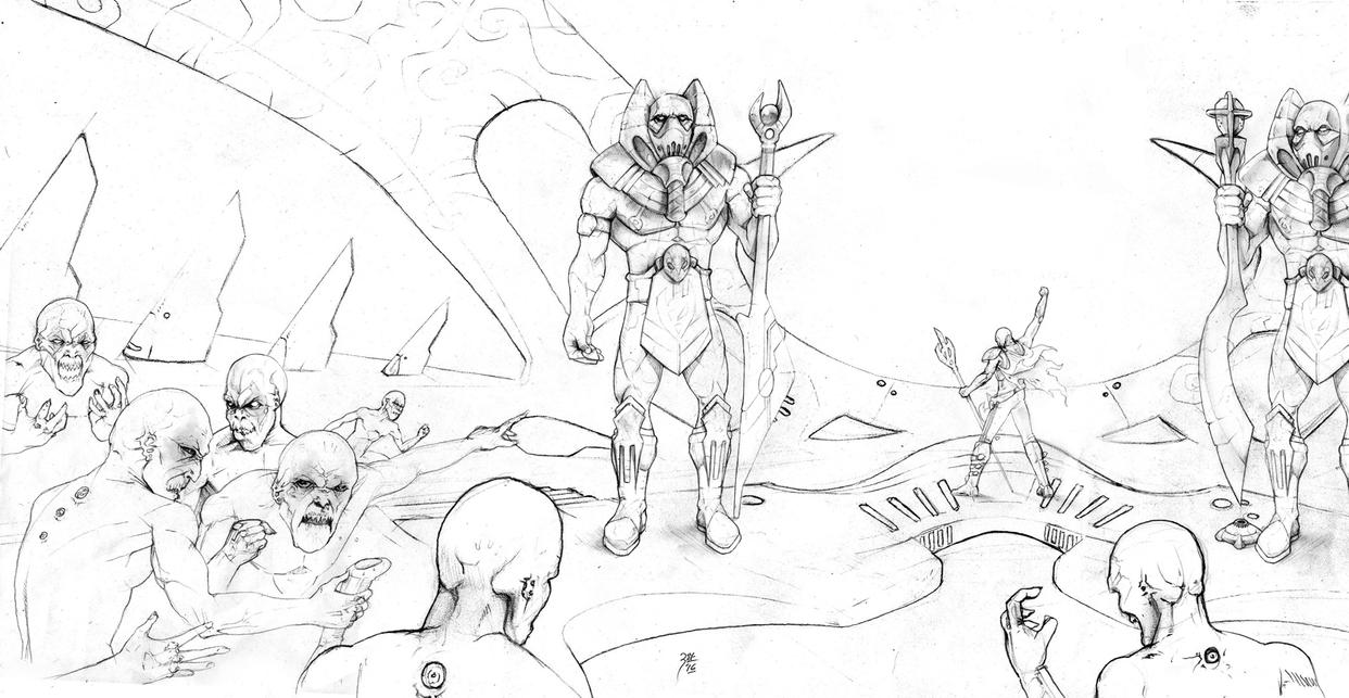 INVASZION cover line art by FAB-dark
