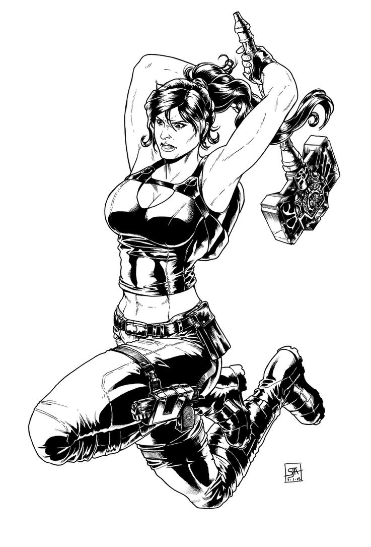 Lara Croft 1 (2015) Inks by SteveAndrew