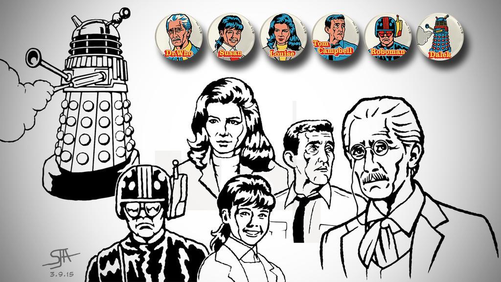 Daleks Invasion Earth 2150 Badges (2015) Inks by SteveAndrew