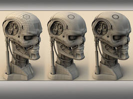 cyborg head wireframe by mmarti