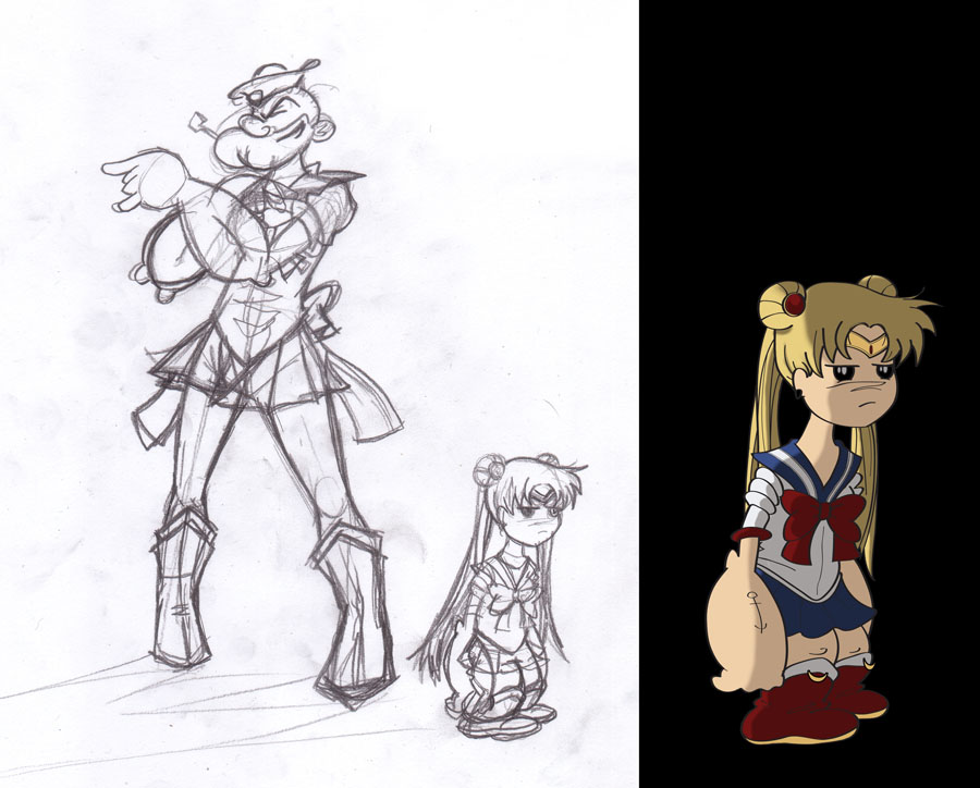 Popeye the Sailor Moon pencils