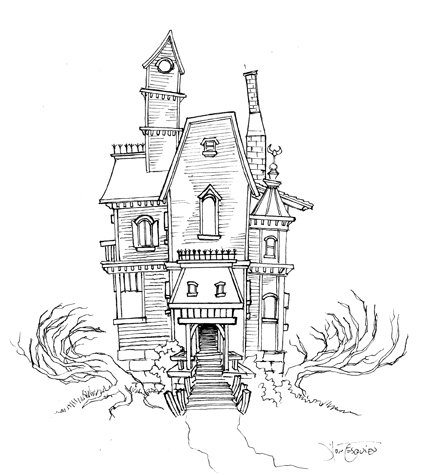 Haunted House Sketch 01 by RC-draws