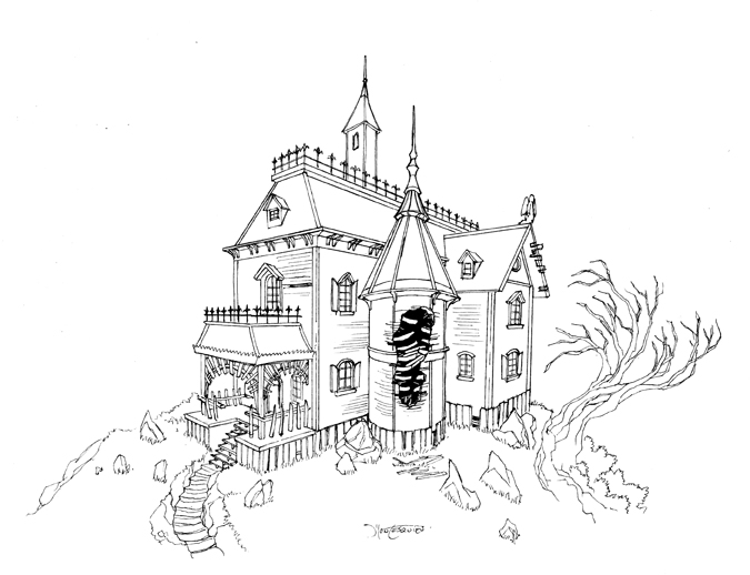 Haunted house 02 by rc draws on deviantart Haunted house drawing ideas