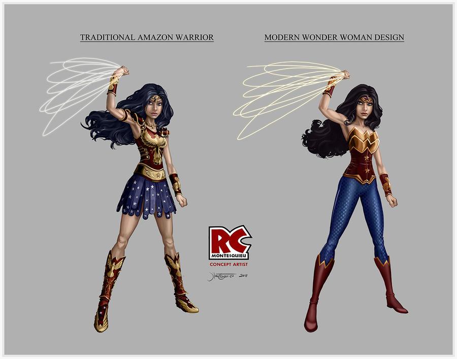 Wonder Woman design comparison by RC-draws