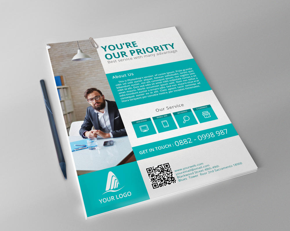 Simple/Flat Corporate Flyer Template by FAFAEFEL on DeviantArt