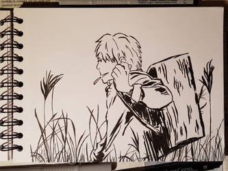 Ink Drawing - Ginko by ThroughTheBlade