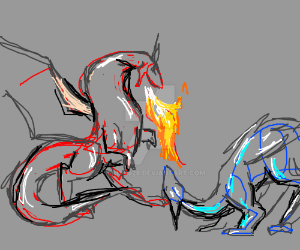 Red dragon shoots fire at blue dragon by LilKity828