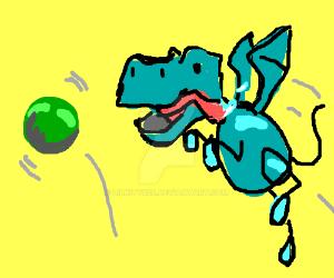 Blue Dragon plays fetch by LilKity828