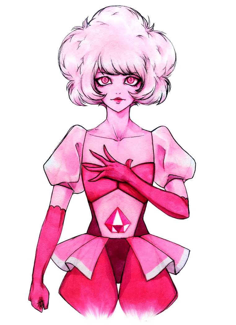 Drew Pink Diamond from Steven Universe! I really like her design and her reveal in A Single Pale Rose left me speechless xD Poofy hair is still hard for me to draw haha 💕 Done with PenJuly ...