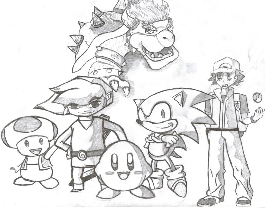 nintendo coloring pages - nintendo characters by toxic demon on deviantart