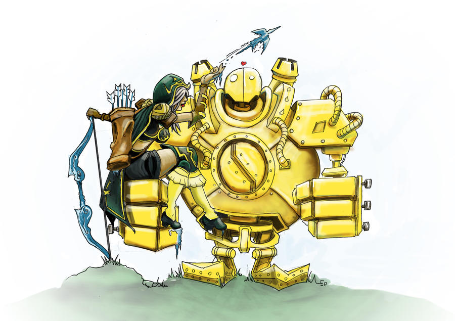 Ashe and BlitzCrank by Reekodyer