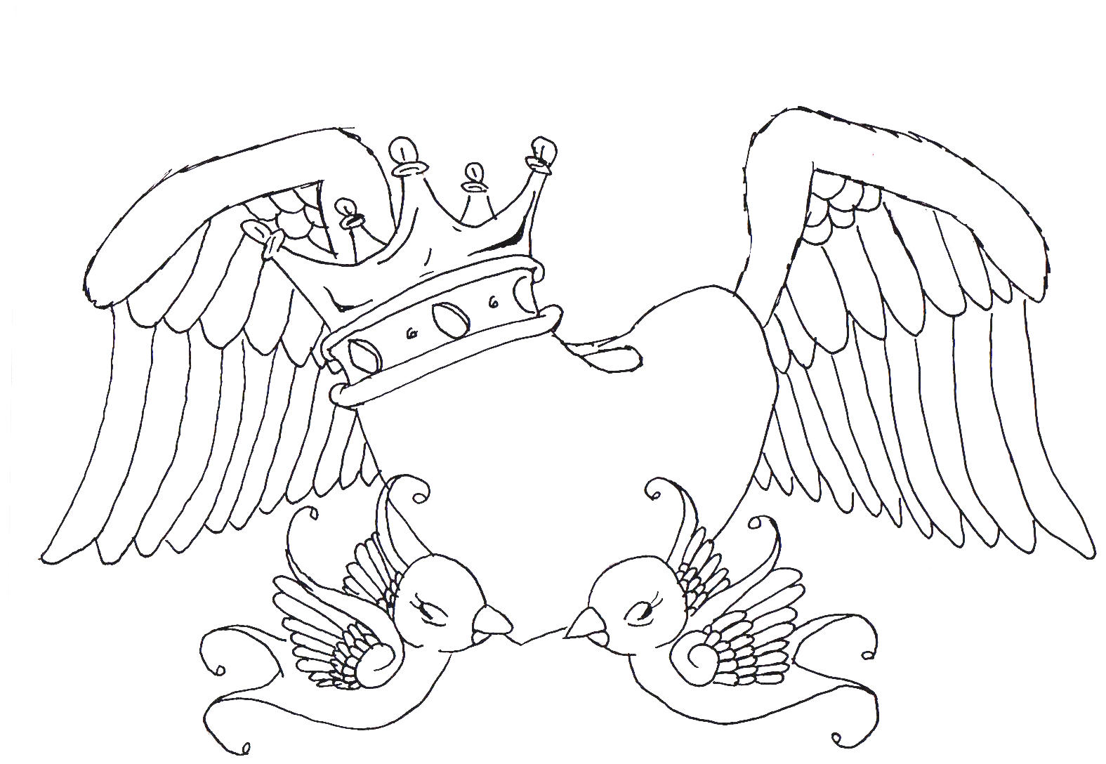 Knumathise rose and heart drawings images for Heart with wings coloring pages