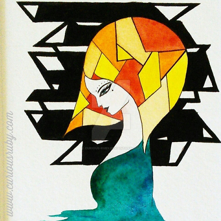 Art deco hair pattern watercolour drawing painting by Curious-Ruby ...