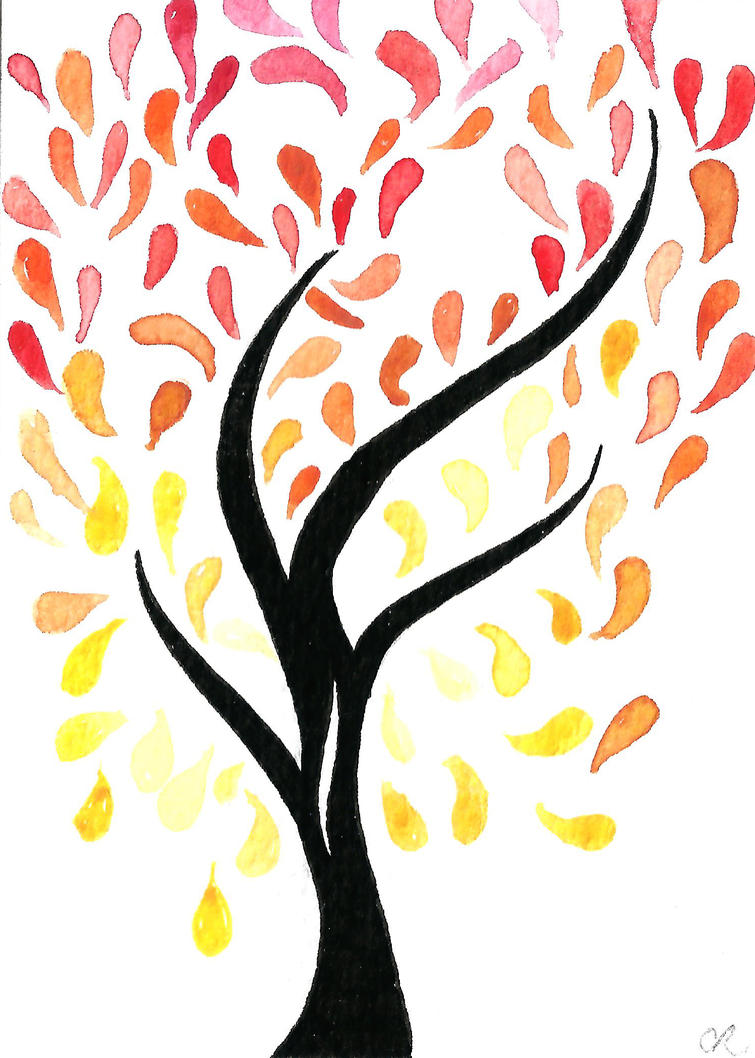 Watercolour ACEO Autumn tree drawing by Curious Ru by Curious-Ruby ... for Fall Tree Drawing  111bof