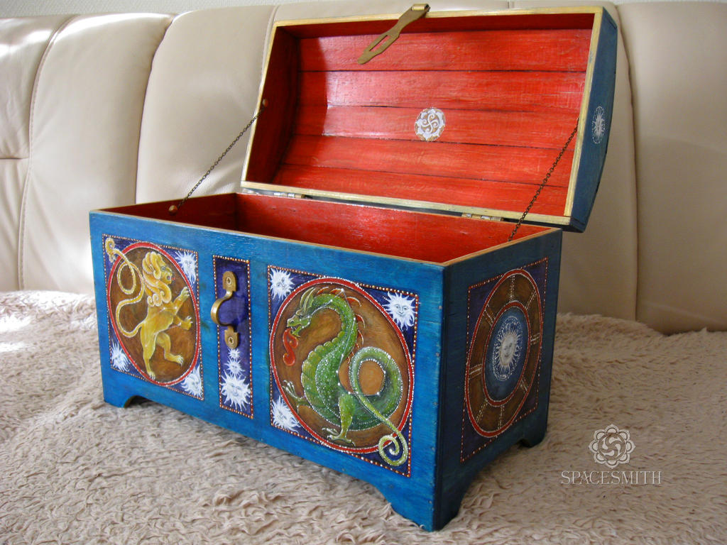 Painted wooden chest by SpacesmithWorkshop