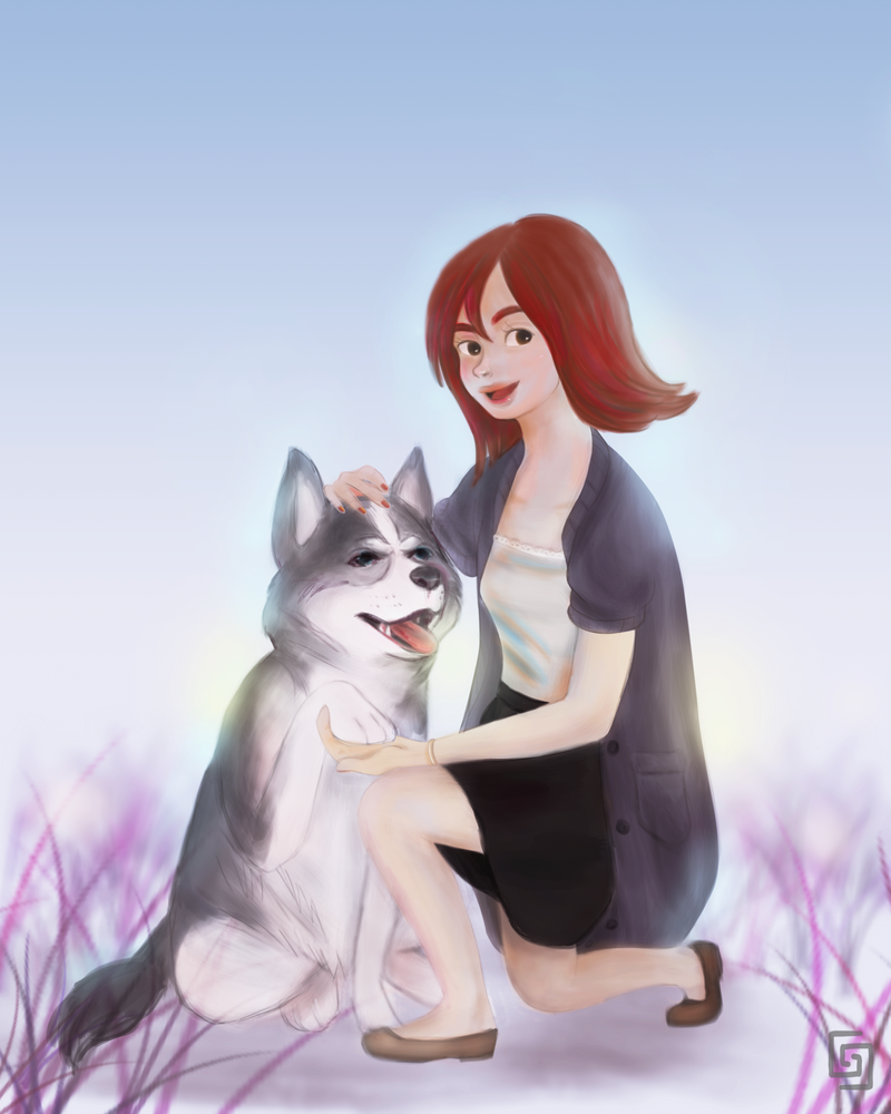 Girl and her dog by radiangi