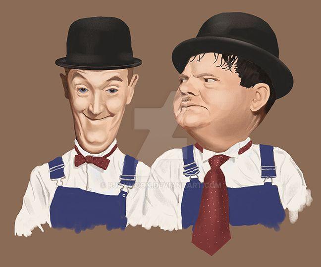 Laurel  Hardy Caricature LR by RJayMoon